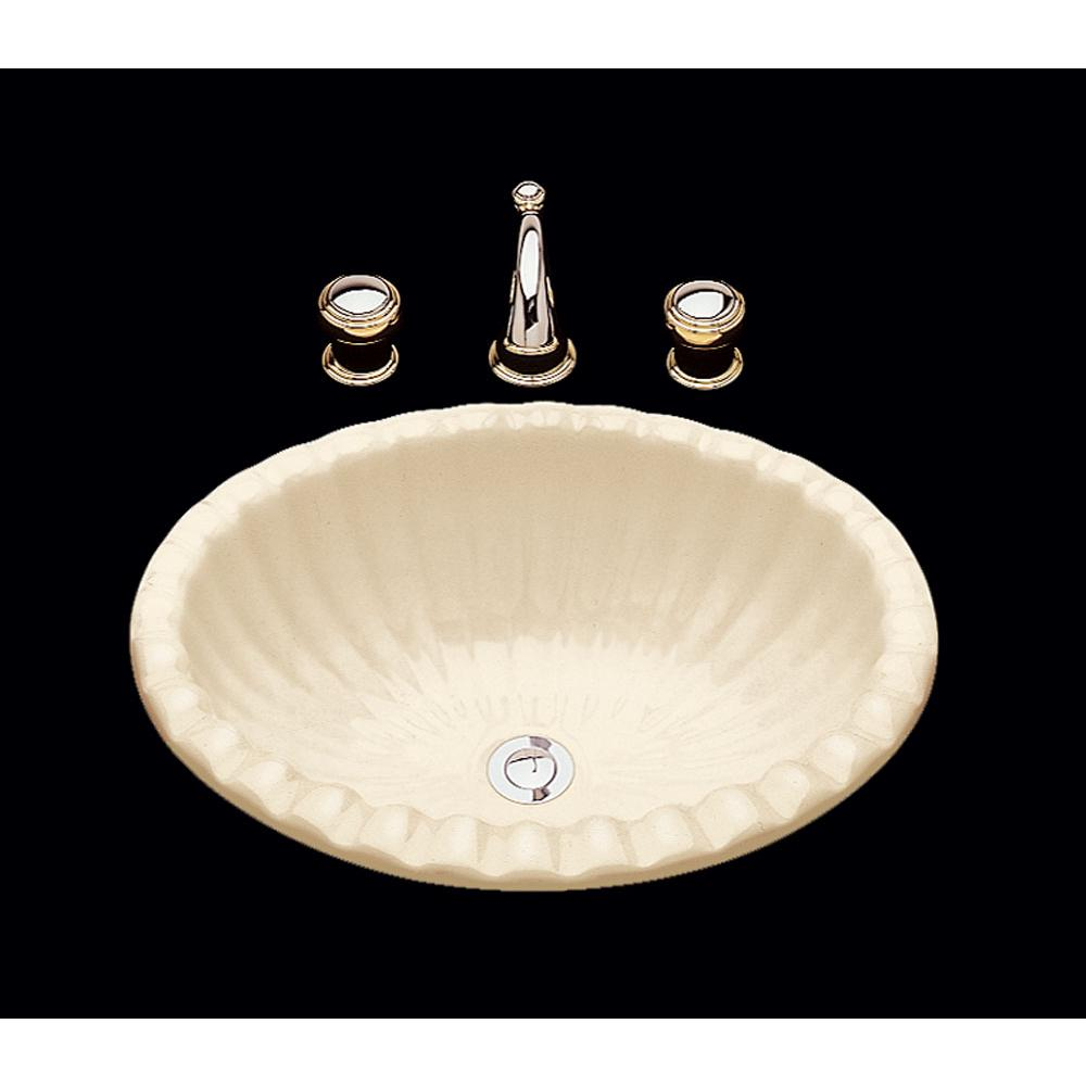 Bates And Bates Julie, Single Glazed Fluted Oval Lavatory, Shell Pattern, Overflow, Drop In Only