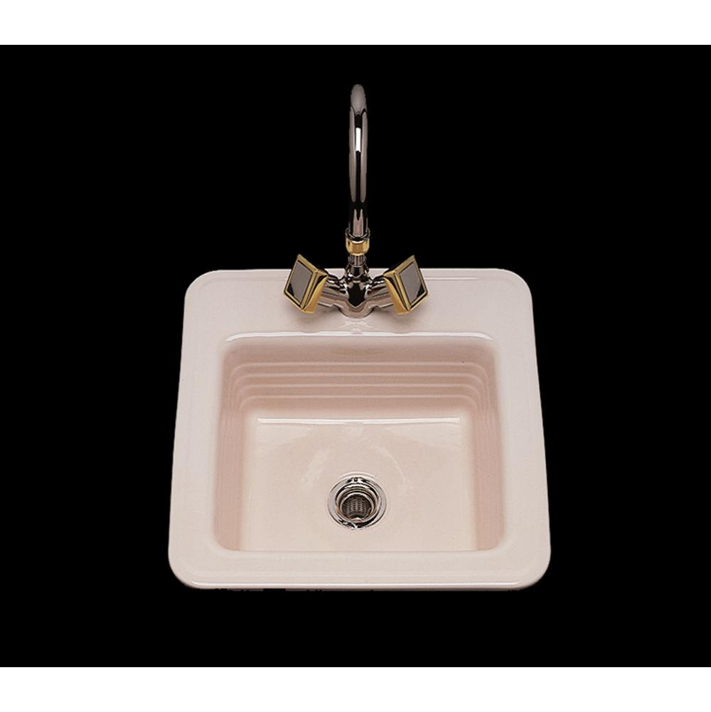 Bates And Bates Gloria, Single Glazed Square Bar Sink, Linial Design Pattern, Only 1-Hole, Drop In Only