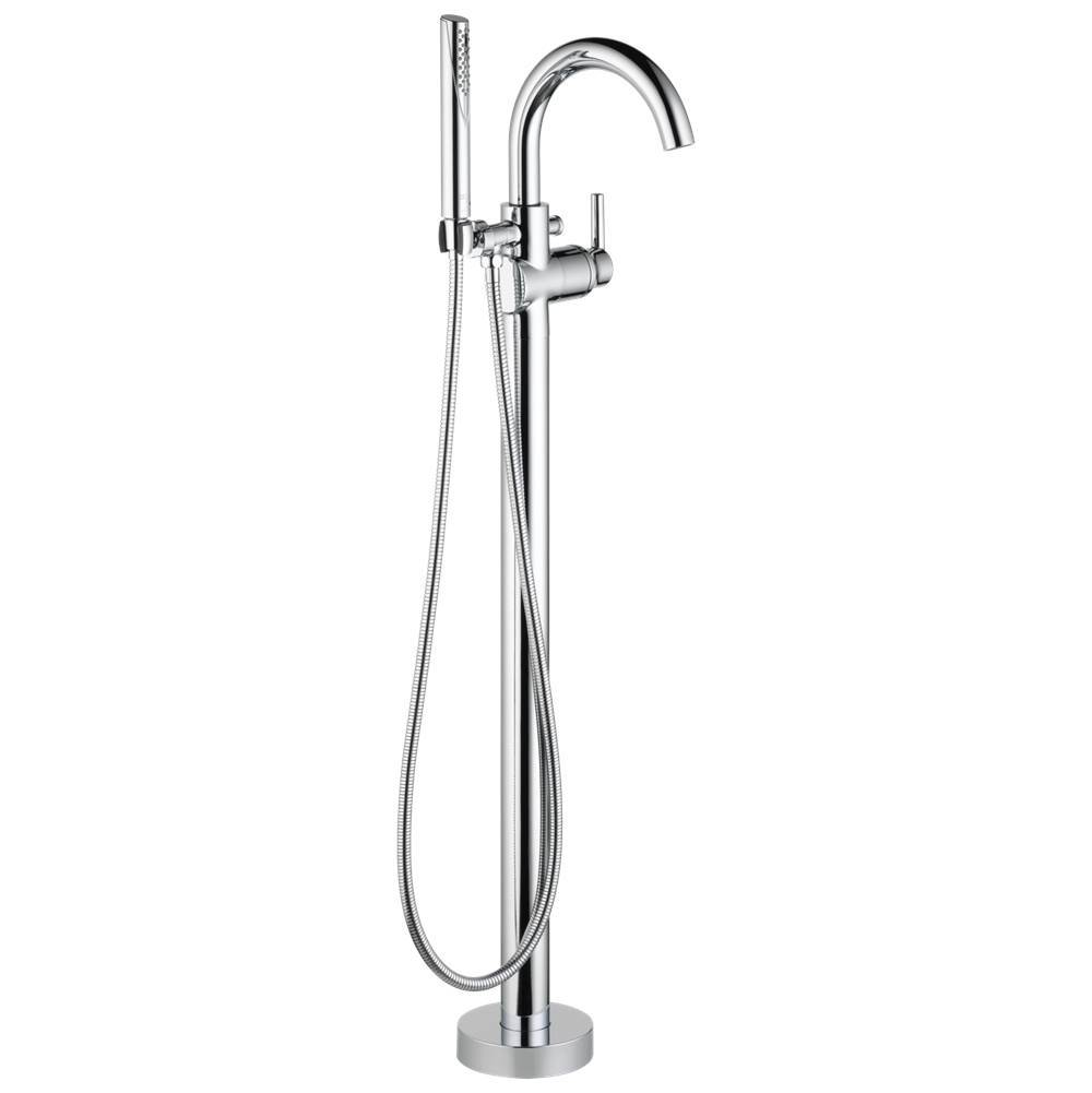 Delta Faucet Trinsic: Single Handle Floor Mount Tub Filler Trim with Hand Shower