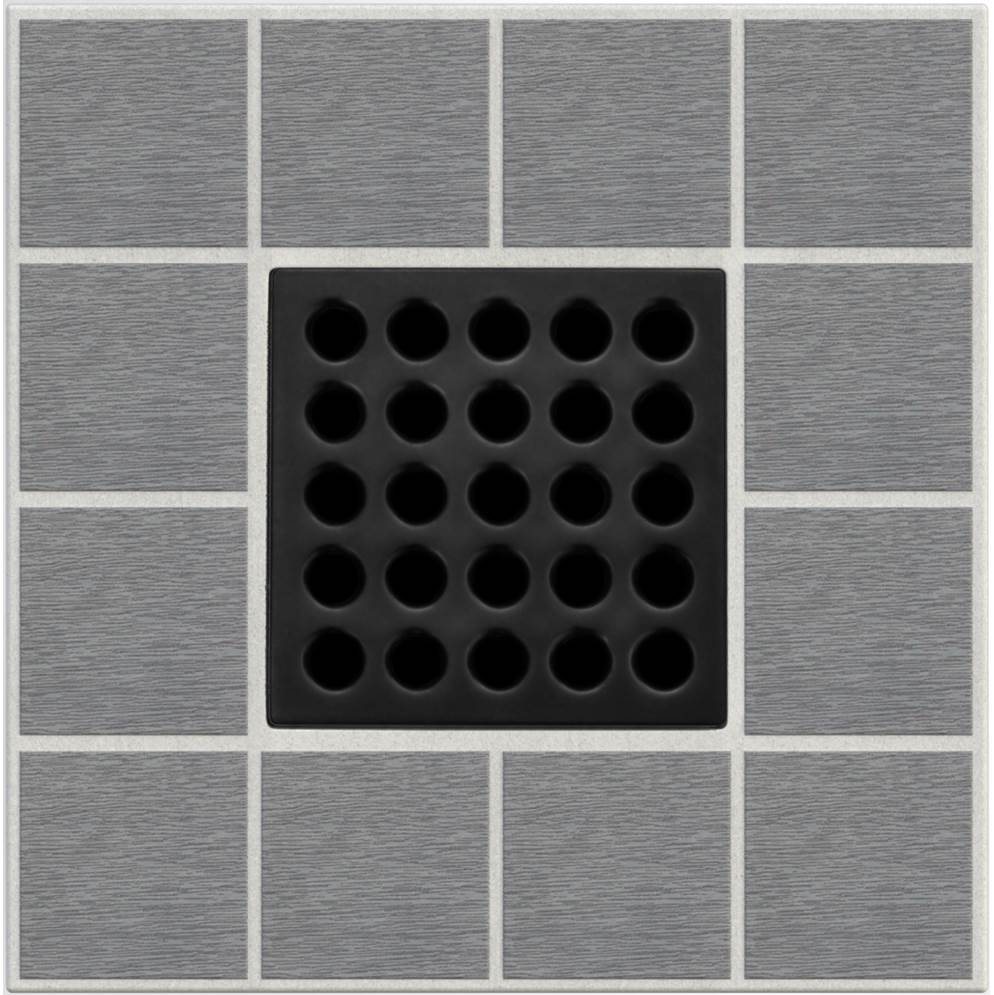 Ebbe Square Shower Drain Grate, Matte Black