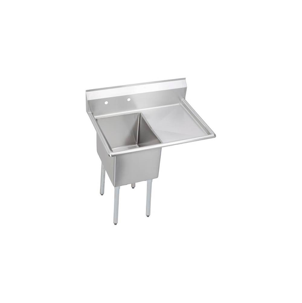 Elkay Elkay Stainless Steel 44-1/2'' x 29-3/4'' x 46'' 16 Gauge One Compartment Sink w/ 24'' Right Drainboard and Stainless Steel Legs