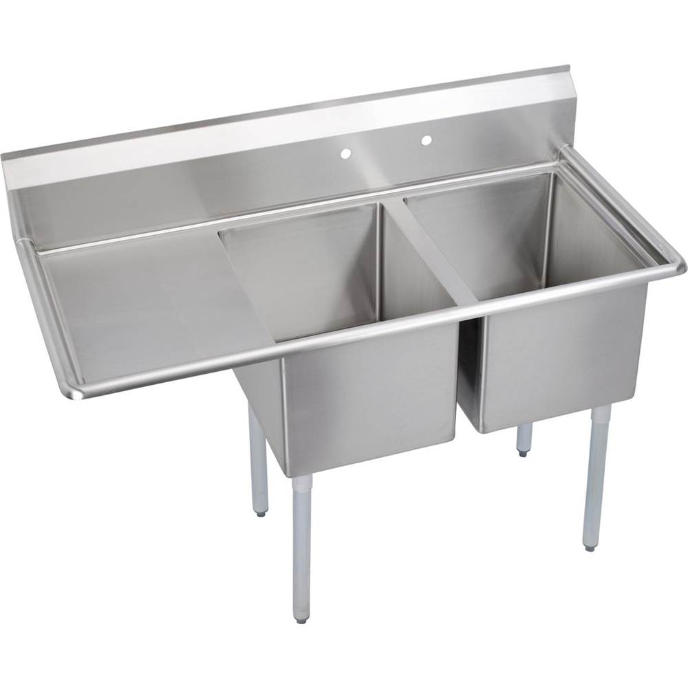 Elkay Elkay Stainless Steel 54-1/2'' x 25-3/4'' x 45'' 18 Gauge Two Compartment Sink w/ 18'' Left Drainboard and Stainless Steel Legs