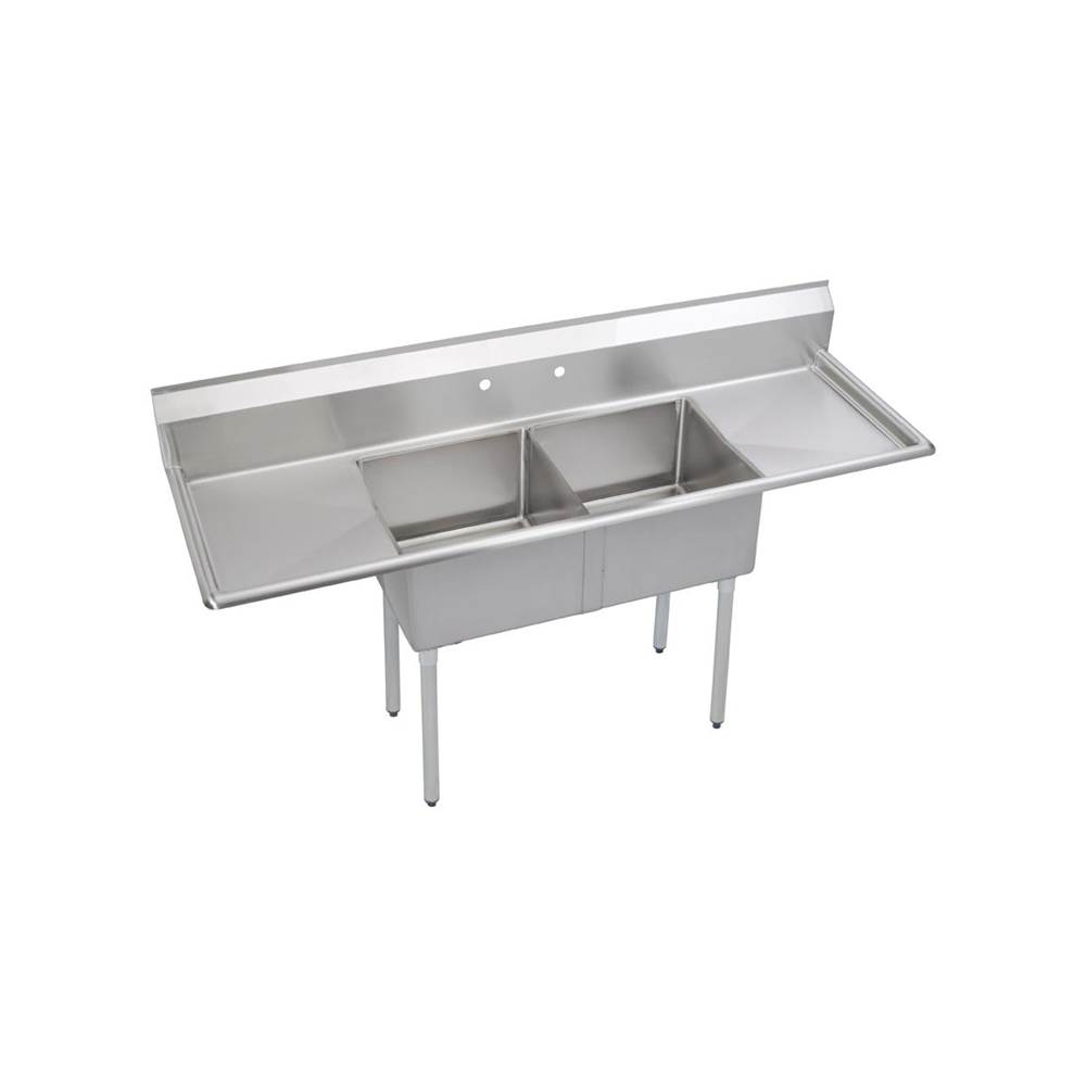 Elkay Elkay Stainless Steel 82'' x 25-3/4'' x 45'' 18 Gauge Two Compartment Sink w/ 20'' Left and Right Drainboards and Stainless Steel Legs