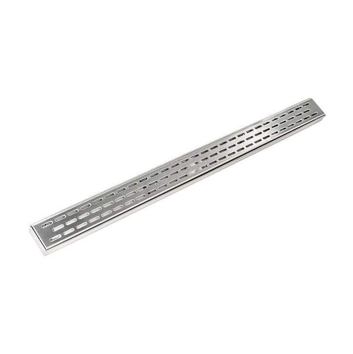 Infinity Drain 60'' FX Series Complete Kit with Perforated Offset Oval Grate in Satin Stainless