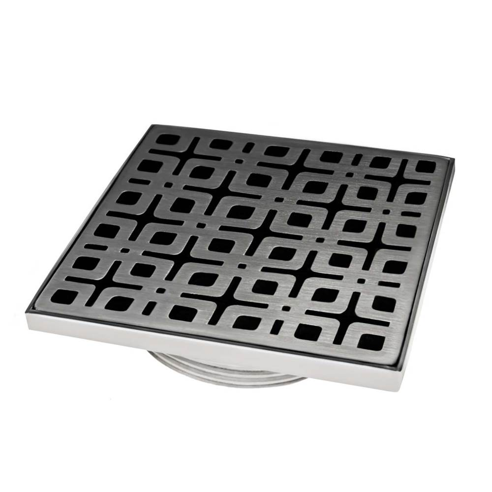 Infinity Drain 4'' x 4'' Strainer with Link Pattern Decorative Plate and 2'' Throat in Satin Stainless for KD 4