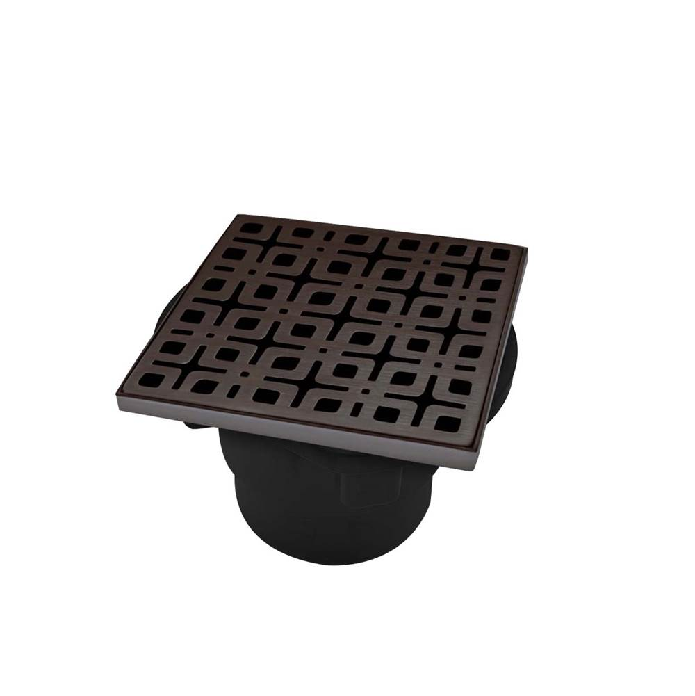 Infinity Drain 4'' x 4'' KD 4 Complete Kit with Link Pattern Decorative Plate in Oil Rubbed Bronze with ABS Drain Body, 2'' Outlet