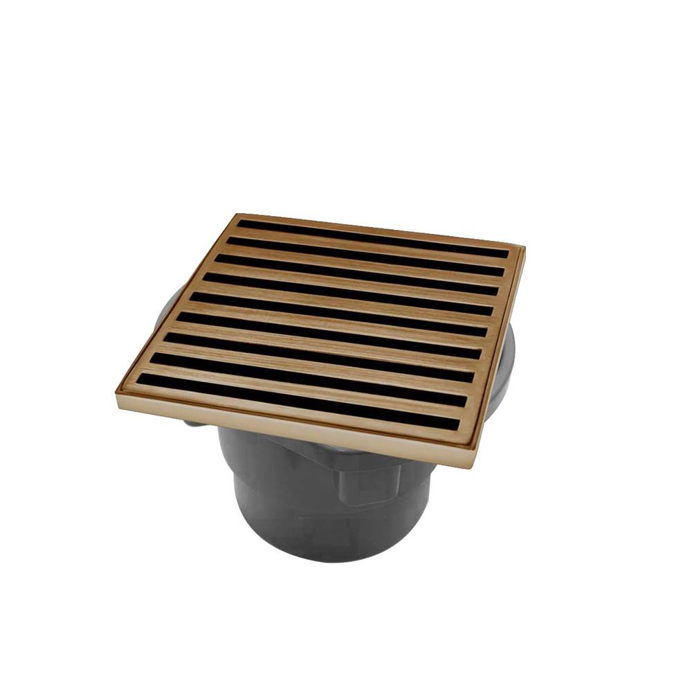 Infinity Drain 4'' x 4'' ND 4 Complete Kit with Lines Pattern Decorative Plate in Satin Bronze with PVC Drain Body, 2'' Outlet