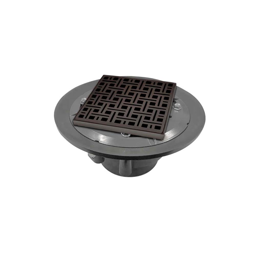 Infinity Drain 5'' x 5'' VD 5 High Flow Complete Kit with Weave Pattern Decorative Plate in Oil Rubbed Bronze with PVC Drain Body, 3'' Outlet