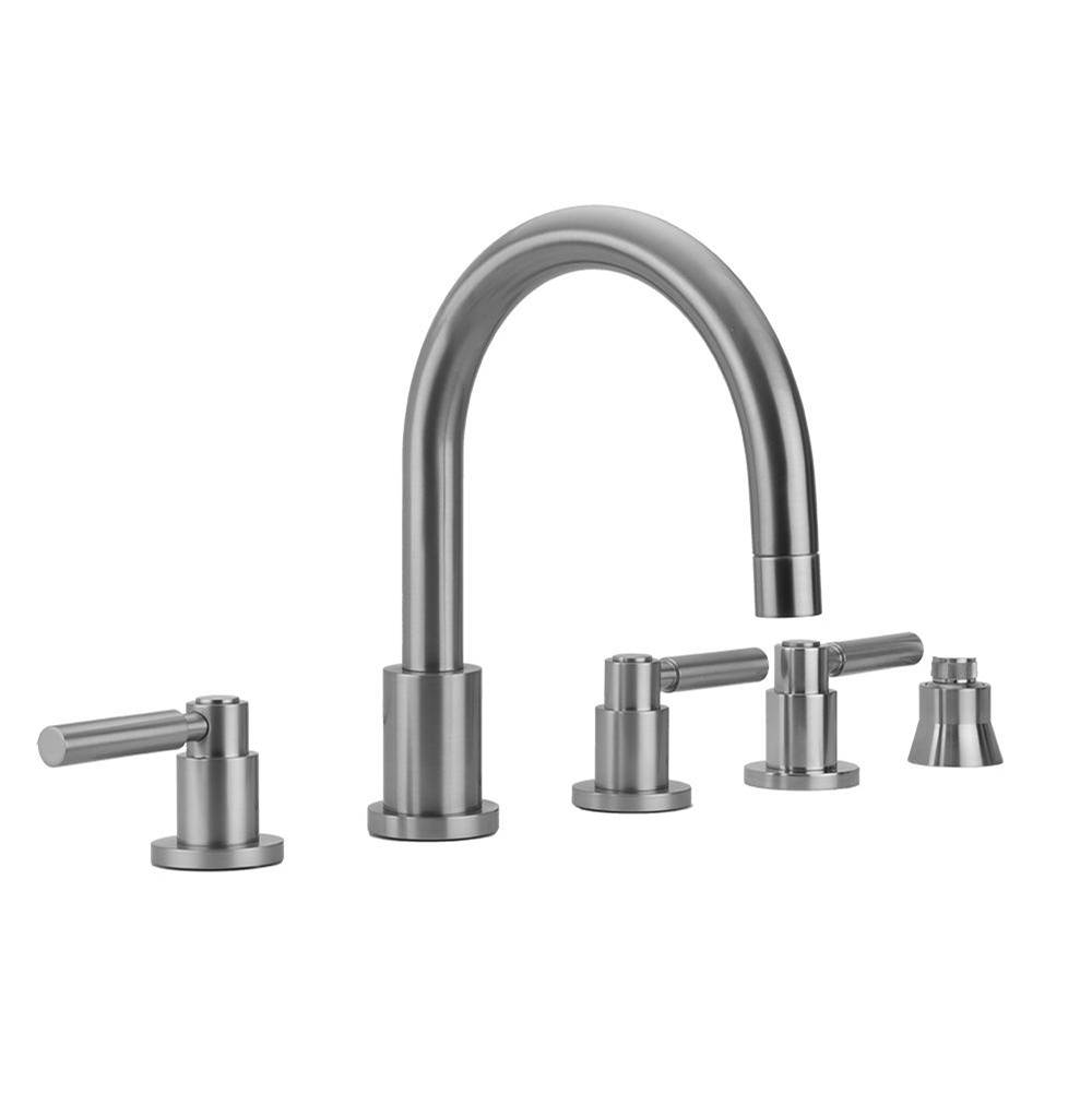 Jaclo Contempo Roman Tub Set with High Lever Handles and Straight Handshower Holder