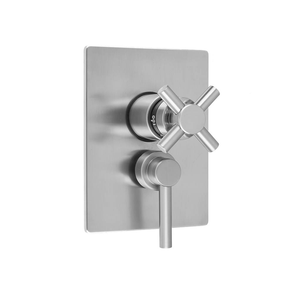 Jaclo Rectangle Plate with Contempo Cross Thermostatic Valve and Contempo Lever Volume Control Trim for 1/2'' Thermostatic Valve