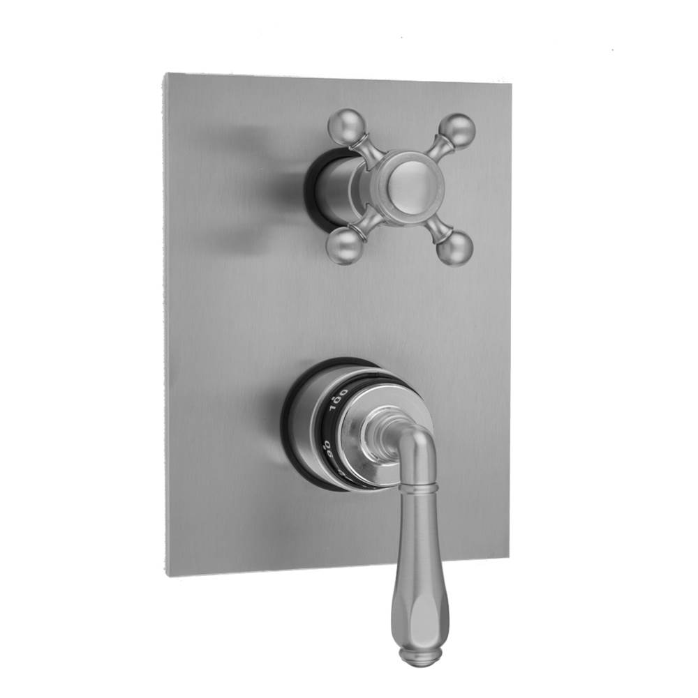 Jaclo Rectangle Plate with Smooth Lever Thermostatic Valve with Ball Cross Built-in 2-Way Or 3-Way Diverter/Volume Controls