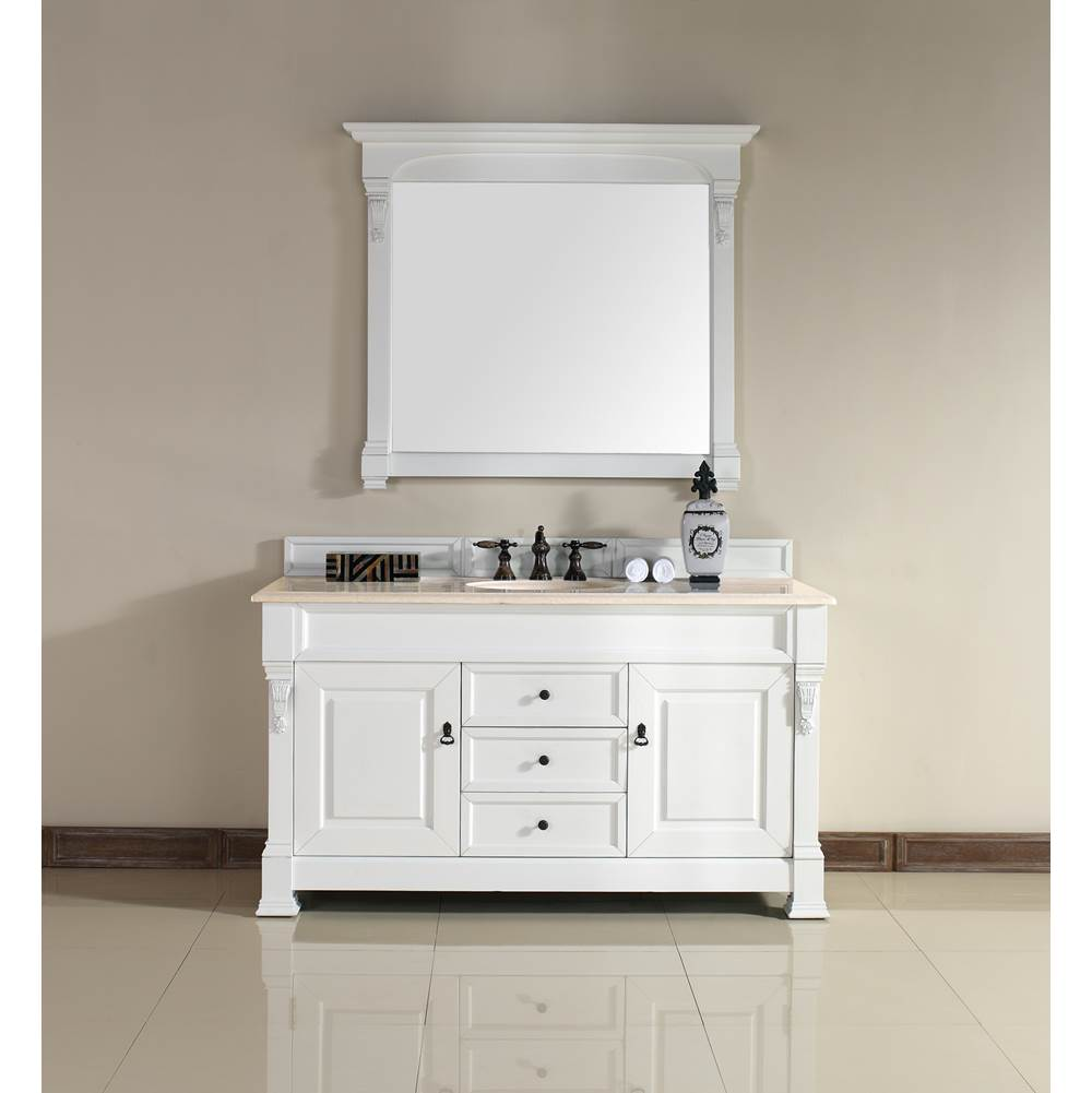 James Martin Furniture Brookfield 60'' Cottage White Single Vanity with 2 CM Galala Beige Marble Top