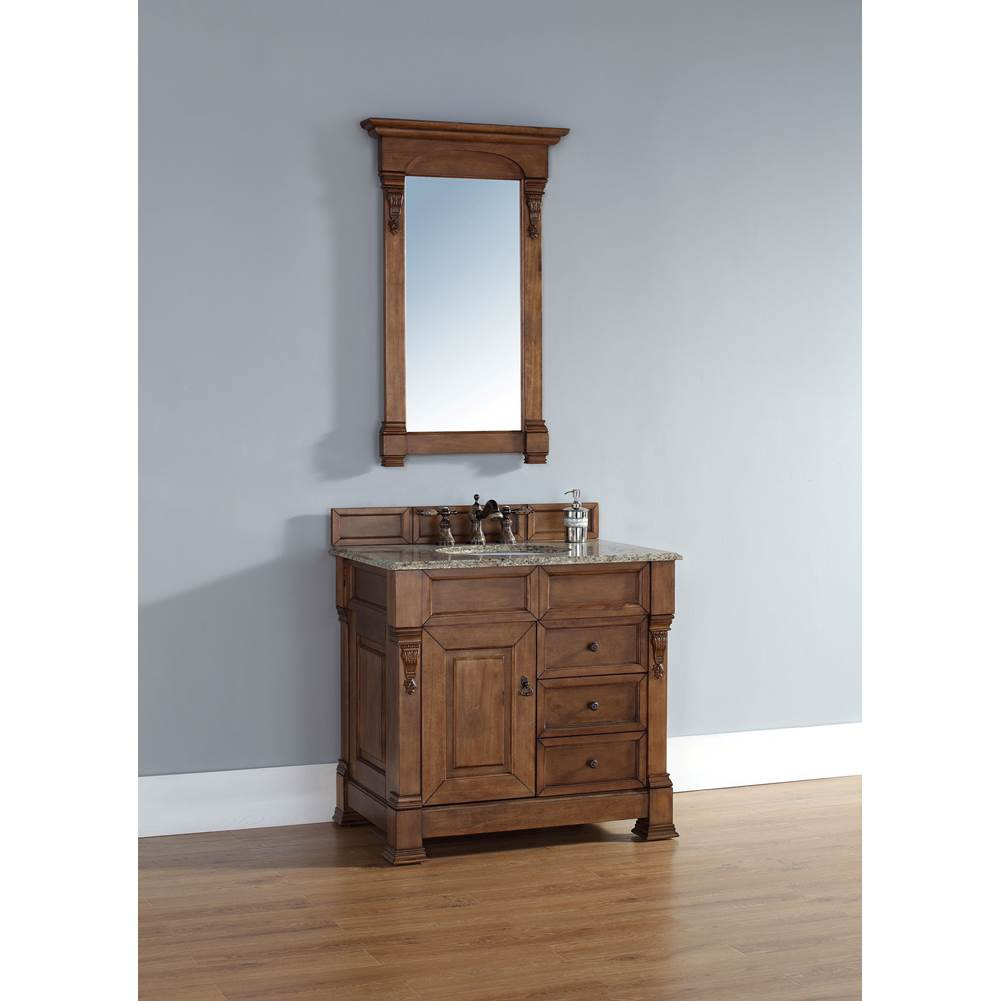 James Martin Furniture Brookfield 36'' Country Oak Single Vanity w/ Drawers with 2 CM Santa Cecilia Granite Top