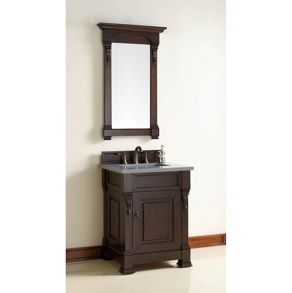 James Martin Furniture Brookfield 26'' Burnished Mahogany Single Vanity with 3 CM Shadow Gray Quartz Top