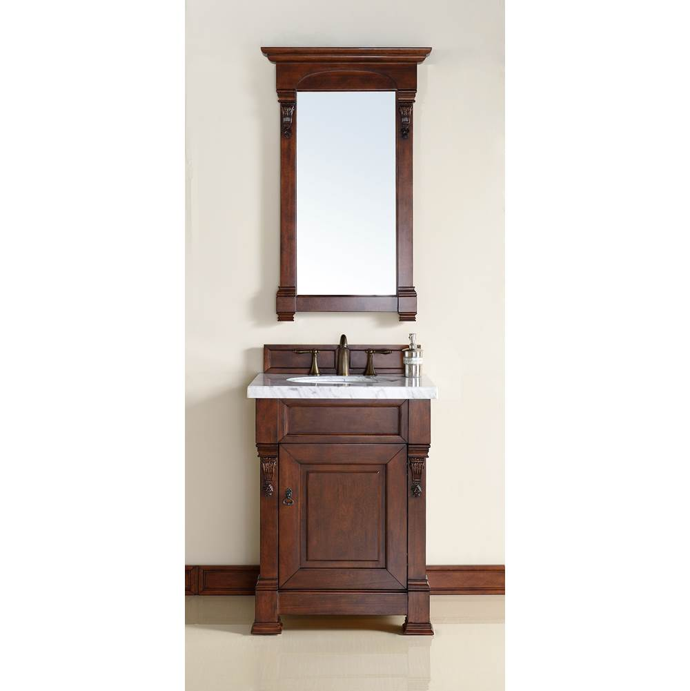 James Martin Furniture Brookfield 26'' Warm Cherry Single Vanity with 4 CM Carrara White Marble Top