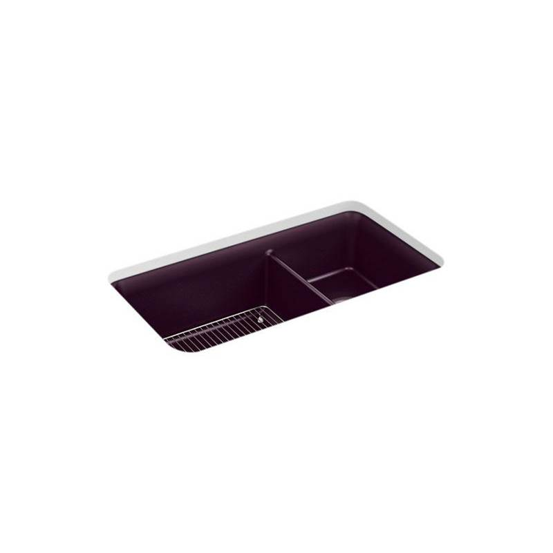 Kohler Cairn® 33-1/2'' x 18-5/16'' x 10-1/8'' Neoroc® undermount double-bowl large/medium kitchen sink with rack