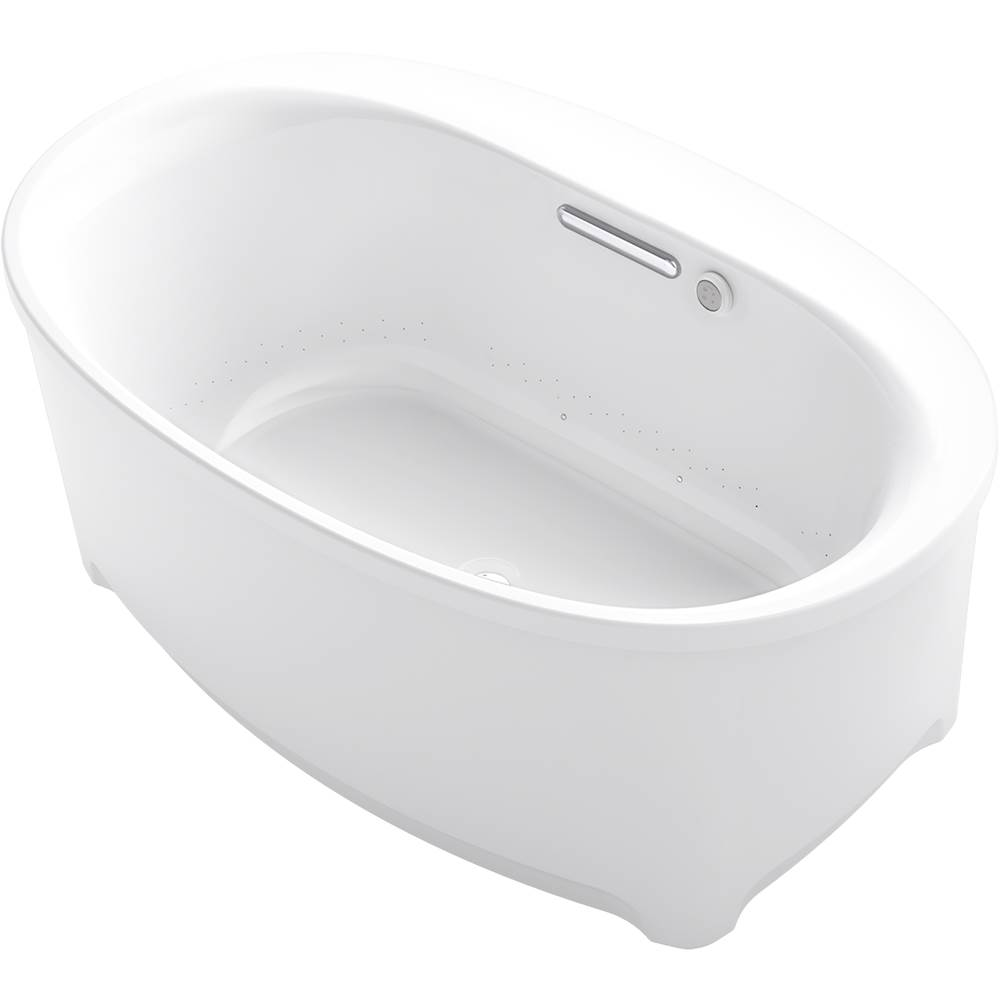 Kohler Underscore Oval 60-in X 36-in Heated Bubblemassage Air Bath With Center Drain, Freestanding