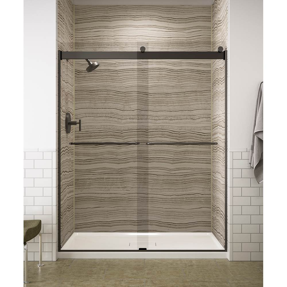 Kohler Levity® Sliding shower door, 74'' H x 56-5/8 - 59-5/8'' W, with 1/4'' Crystal Clear glass and towel bars