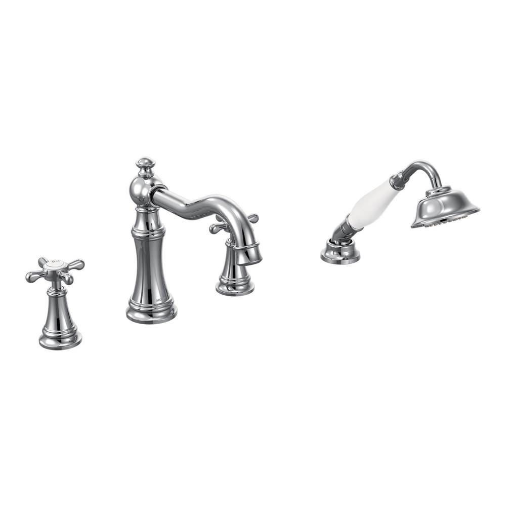 Moen Chrome two-handle roman tub faucet includes hand shower