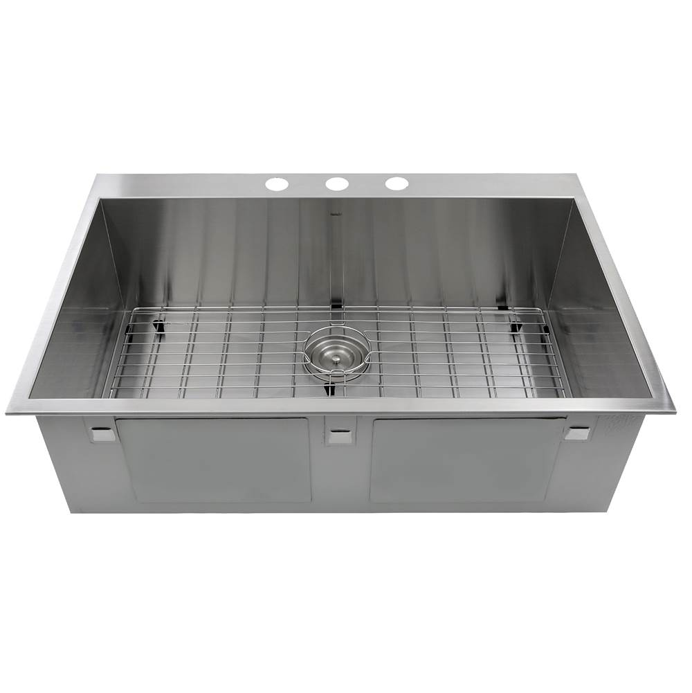 Nantucket Sinks ZR3322-16 - 33 Inch Large Rectangle Single Bowl Self Rimming Zero Radius Stainless Steel Drop In Kitchen Sink, 16 Gauge - 3 Hole