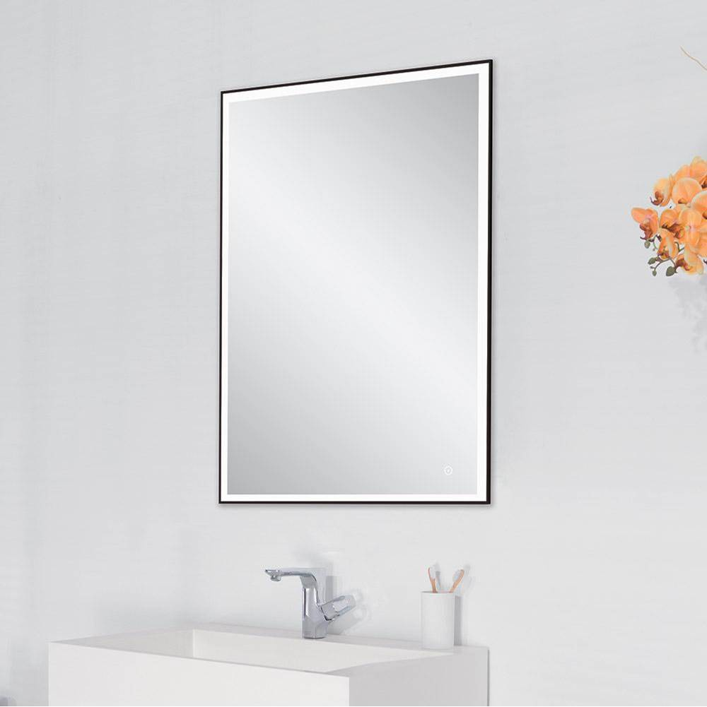 Ronbow 30'' Brilliance Metal Framed LED Mirror in Matte Black