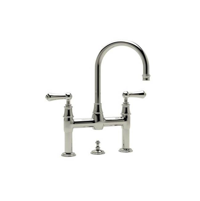 Rohl Perrin & Rowe® Georgian Era Deck Mount Lavatory Bridge Faucet with Lever Handles in Polished Nickel
