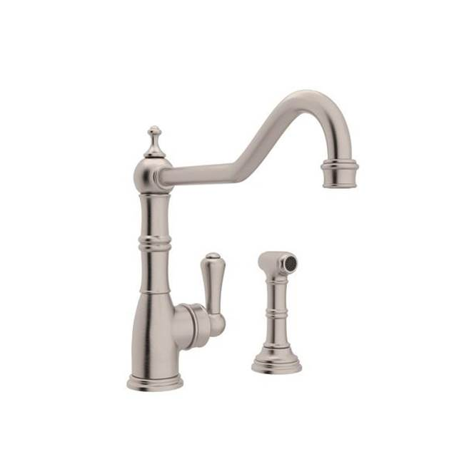 Rohl Perrin & Rowe® Edwardian Single Handle Kitchen Faucet With Sidespray with Lever Handle in Satin Nickel