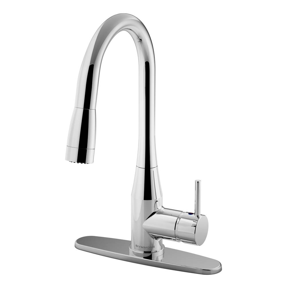 Symmons Sereno Single-Handle Pull-Down Sprayer Kitchen Faucet with Deck Plate in Polished Chrome (1.0 GPM)