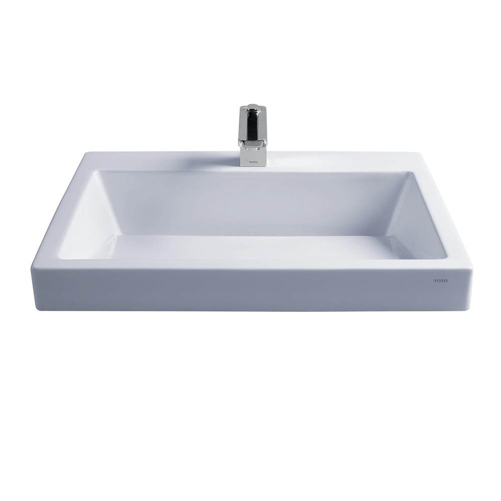 Toto Kiwami® Renesse® Design I Rectangular Fireclay Vessel Bathroom Sink with CEFIONTECT for 8 Inch Faucets, Cotton White