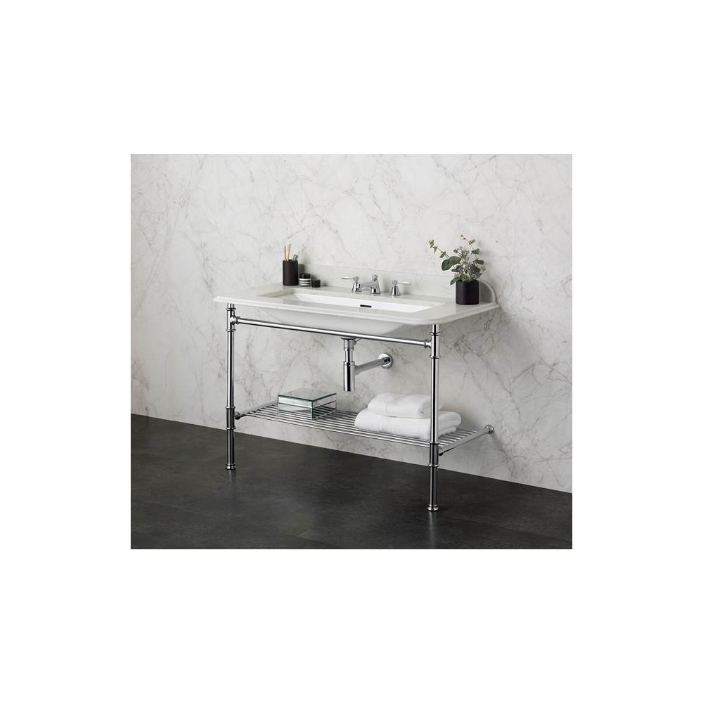 Victoria + Albert Victoria+Albert Metallo 113 Washstand With Metal Rail Shelf And Englishcast Undermount Sink In Quartz Surface In Polished Chrome