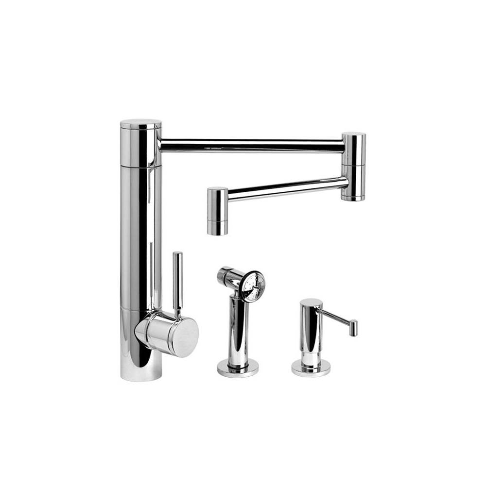 Waterstone Hunley Kitchen Faucet - 18'' Articulated Spout - 2Pc. Suite