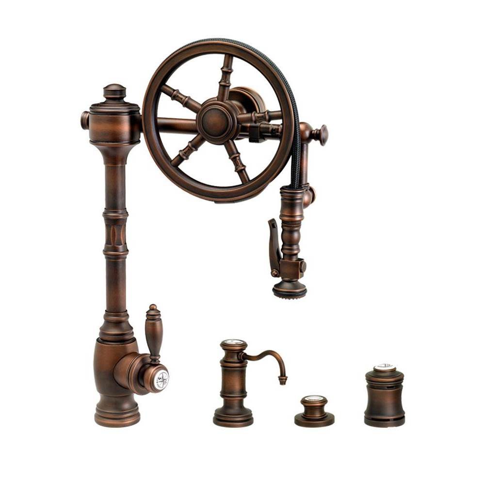 Waterstone Traditional Wheel Pulldown Faucet - 4Pc. Suite