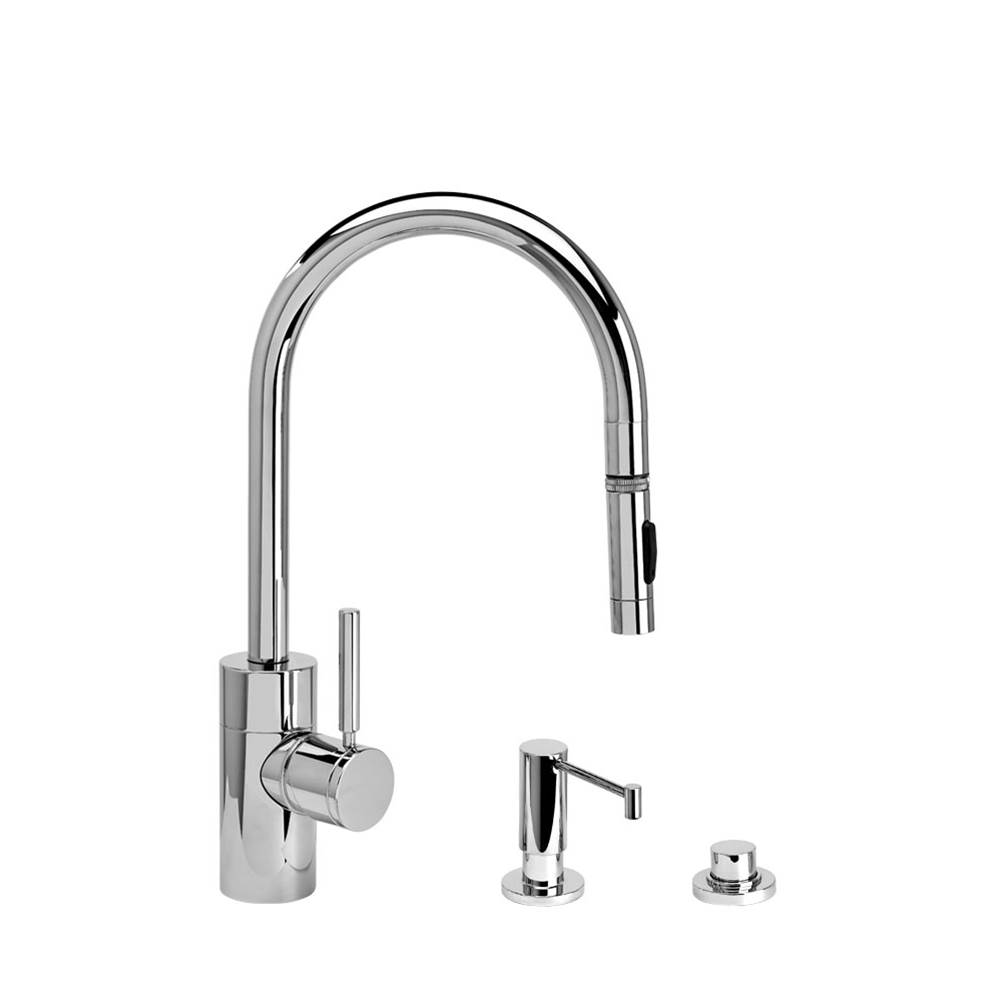 Waterstone Contemporary Plp Pulldown Faucet - Angled Spout - Toggle Sprayer - 3Pc. Suite