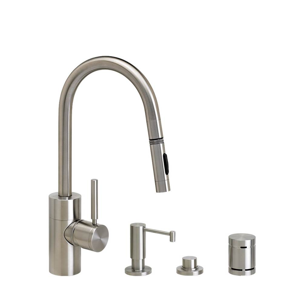 Waterstone Contemporary Prep Size Plp Pulldown Faucet - Angled Spout - Lever Sprayer - 4Pc. Suite